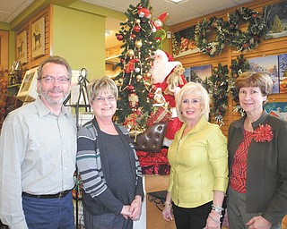 SPECIAL TO THE VINDICATOR Several people work hard each year to help support Mill Creek MetroParks and Fellows Riverside Gardens. Among those tasked with arranging a Holiday Open House at the Shop in the Gardens are, from left, Keith Kaiser, Fellows horticulture director; Eileen Stankovich, shop manager; Jeanne Simeone, merchandise buyer; and Janet Yaniglos, president of Friends of Fellows Riverside Gardens.