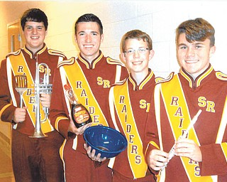 SPECIAL TO THE VINDICATOR South Range band officers are preparing for the South Range Music Boosters all-you-can-eat pancake breakfast from 7 to 11 a.m. Nov. 16 at the high school, 11300 Columbiana Canfield Road, Canfield. Officers, from left, are Scott Erb, Luke Eusebio, Jacob Stellars and Seb Calvin.