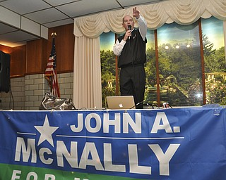 ROBERT K. YOSAY  | THE VINDICATOR.. John McNally  thanks his supporters after McNally won the Mayors race in Youngstown at Sts. Peter and Paul Ukrainian Church, on Belle Vista Ave., Youngstown...-30-....