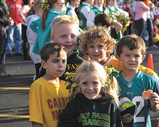 SPECIAL TO THE VINDICATOR Students and their families from Holy Family School in Poland recently attended a tailgating party in the school parking lot. They had pizza, hot dogs and cookies. Some who participated are, in front, Abigail Markey, kindergarten; and in back, from left, Brady Desmond, pre-K; Jackson Ensley, Marcos Mateo and Kelley Memo, all in kindergarten.