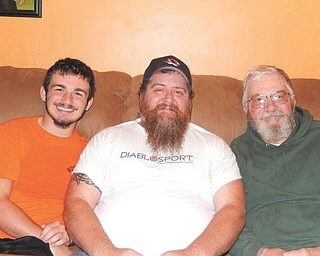 """Renee Bero writes: """"I took this photo of my grandson, Hunter Troggio (a sophmore at Springfield Local High School), his dad and my son-in-law, Jordan Troggio, and my husband, Chuck Bero. All three live in New Middletown and share a certain style of beards."""""""