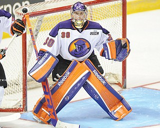 Youngstown Phantoms goalie Sean Romeo stands ready to defend the goal during a recent United States Hockey League game against the Indiana Ice at the Covelli Centre in Youngstown. The Phantoms face the Fargo Force this weekend at the Covelli, but rookie Colin DeAugustine is expected to be in goal as Romeo is recovering from a leg injury suffered last Friday against Sioux Falls.