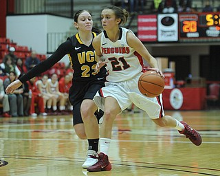 Youngstown State #21 Liz Hornberger dribbles the basketball to the inside of VCU #23Jessica Pellechio during the first half of Saturday afternoons game.