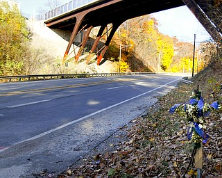 MADELYN P. HASTINGS | THE VINDICATOR..A decorated cross was placed at the site of a two vehicle car accident along Connelly Blvd. near the intersection of Route 62. The accident caused three deaths with four others injured at around 10:00 p.m. on Friday, November 10, 2013.  ... - -30-..
