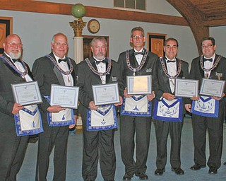 SPECIAL TO THE VINDICATOR At a recent Argus Lodge meeting in Canfield, 10 officers received diplomas and certificates of completion for the Masonic Code Course and Masonic Officers Manual Course. Recipients are, from left, Denny Furman, Dale Hawkins, Eric Cahalin, Charles Prachick, Mark Roca, Russell Gillam Jr., Christopher Gillam, Ryan Hamilton and Russell Gillam III. Recipient Patrick Anderson was absent.