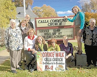 SPECIAL TO THE VINDICATOR Calla Community Church, 6482 W. Calla Road, Canfield, is sponsoring its annual cookie walk from 10 a.m. to 2 p.m. Dec. 14. Cookies will cost $4.50 per dozen. Varieties will include kolachi, and Calla Church cookbooks will be sold. Promoting the walk, standing from left, are Gail Owens, Sarah Schlegel, Edward Schlegel, Olivia Wince and Janet Schlegel. Seated are Christine Wince, Emmalee Wince, Diana Houston and Kim Coleman. For details call 330-533-6007 or visit www.callachurch.org.