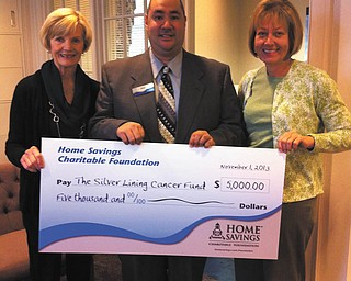 SPECIAL TO THE VINDICATOR Home Savings Charitable Foundation recently donated $5,000 to the Silver Lining Cancer Fund, which helps Mahoning Valley patients who are financially challenged and undergoing treatment for cancer. From left to right are Sauni Ciancioli, co-chair, Silver Lining; Jim Long, retail manager, Home Savings Canfield office; and Amy Davidson, co-chair, Silver Lining.