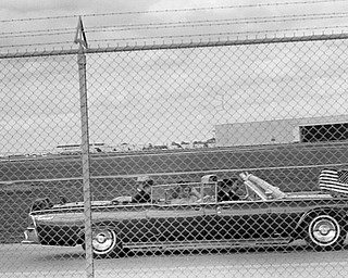 President John F. Kennedy's limousine heads for Air Force One at Brooks Air Force Base in San Antonio, Nov. 21, 1963. The president and his entourage were heading to Houston.