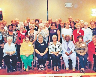 SPECIAL TO THE VINDICATOR East High School Class of 1953 celebrated its 60th reunion Oct. 5. Those attending, in the front row, from left, were Mary Magner, Betty McFall, Philomena Tiberio, Nancy DeLucia, Viney Shaw, Phyllis Wick and Mary Lou Cambert. In row two are Phyllis Simon, Geneva Hall, Lilla Napolitan, Frances Poulos, Judy Biondillo, Mafalda Burrelli, Donna Schneider, Alice Marchione, Carolyn McCorkle and Dorothy Williams. In the third row are Clara Lentine, Angela Behan, Anthony Parrotto, David Price, Ethel Cantwell, Pat Mangee, Rosetta Yemma, Chuck Claypoole, Bob Majors, Ilene Willingham, Adele Perez and Irene Nicola. In the fourth row are Joe Sandy, Abel Rios, Pete McBride, Joe Saadi, Lillian DeSalvo, Larry Markasky, Jim Jordan, Jerry Kernan, Pat Dickson and Nancy Thompson.