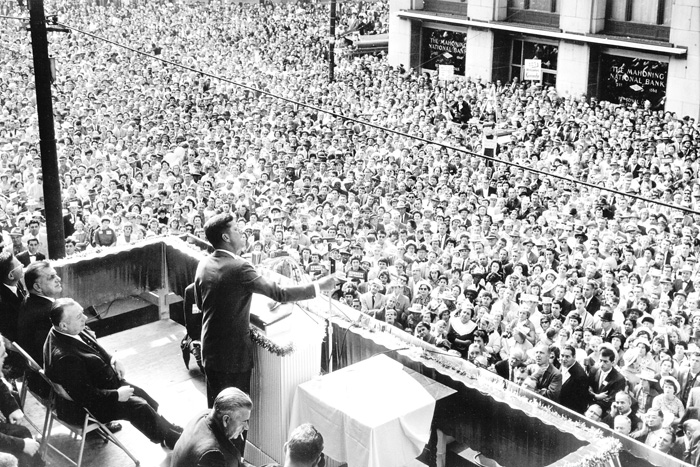 Senator John F. Kennedy speaks in Youngstown's Central Square on Sunday, October 9, 1960, during the presidential race.