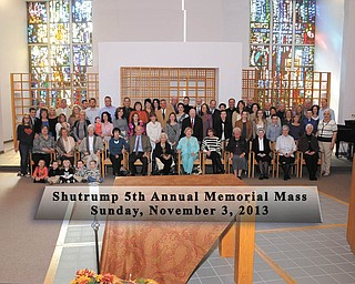SPECIAL TO THE VINDICATOR The Shutrump Fifth Annual Memorial Mass took place Nov. 3 at the Ursuline Motherhouse in Canfield to honor living and deceased members of the family. This year the Mass also celebrated the 50th anniversary of the Motherhouse, which Fred Shutrump constructed. Members of his family as well as the families of John Shutrump, Fred's brother, and George Shutrump, his cousin, also attended the Mass and brunch.