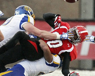 William D Lewis The Vindicator YSU's Andrew Williams(80) looses control of the ball after being nit by SDS Marshall Peugh(69) and Charles Elmore(29) during 42-13 loss to South Dakota 11-23-13 at YSU.