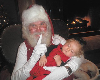 Sydney Rose Spin fell asleep while waiting to see Santa at the Akron Children's Holiday Party.  She was just a year old. She lives in Boardman with her family and Mom, Connie, sent the picture.