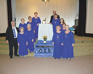 SPECIAL TO THE VINDICATOR Order of the Eastern Star Chapter 278 met Nov. 11 for its installation. Those participating, clockwise, from left, are Dale Beckman; Elberta Scott; Marion Brownlee; Judy Elliott; Cindy Ferguson; Shirley Jacobs, worthy matron; Jack Maxwell, worth patron; Susan Gillam; Melissa Genhart; Patty Flower; Bonnie Lambert; and Bonnie Huish. Others installed were Cindy Brown, Jennifer Dailey, Deborah Wagner, Janet Summer, Elaine Hippley and Laurie Hernandez.