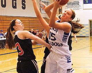 Lakeview's Alli Pavlik makes a layup to reach her 1,000th career point as Struthers' Caitlin Kane tries to block during Monday's game in Cortland. Pavlik posted 24 points for the Bulldogs, who downed the Wildcats, 69-56.