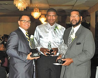 The Youngstown Chapter of The Links Inc. honored winners of the Black Diamond awards in October at The Georgetown in Boardman. Top honorees, from left, were Allan Irizarry-Graves, Rough Diamond; Corbin Michael Croom, Diamond Chip; and William Blake, Polished Diamond. There were 27 nominees.