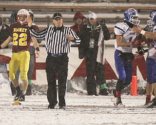 William D Lewis the Vindicator  Mooney's Mark Handel(22) reacts as offical calls pass interference  late in 4thqtr of state Championship while Clinton players at right celebrate.