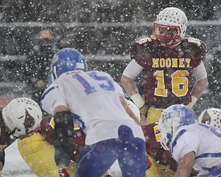 William D Lewis The Vindicator  Mooney QBJon saadey(16) looks down hte line during closing moments of State Championship loss.