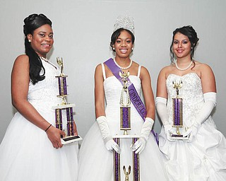 SPECIAL TO THE VINDICATOR Miss Cinderella 2013 was crowned Nov. 29 at the Cinderella Ball at Mr. Anthony's in Boardman. From left are Naudia Spivey, first attendant; Stacie Durden, Miss Cinderella; and Brianna Diaz, second attendant.