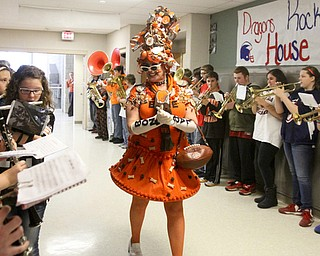 William D. Lewis The Vindicator The Bone Lady, super Browns fan Debra Darnall of Lakewood makes a grand entrance at Niles Middle School 12-18-13. She was there to speak to students and be taped for an upcoming ESPN feature.