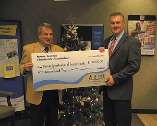 SPECIAL TO THE VINDICATOR Home Savings and Loan Foundation recently made a donation of $5,000 to Housing Opportunities of Beaver County for annual program support, which provides foreclosure counseling services, credit repair and energy assistance and administers a first-time buyer program. Frank Wilson, left, is executive director of Housing Opportunities of Beaver County, and Richard Michaels, right, is branch manager of Home Savings Beaver office. For information regarding Housing Opportunities of Beaver County, call 724-728-7511 or visit hobcinfo.org.