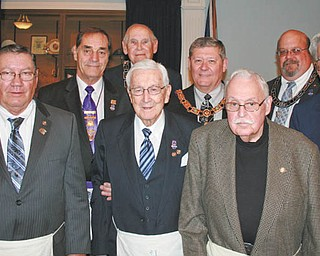 SPECIAL TO THE VINDICATOR At a recent meeting, Western Star Lodge 21 in Boardman honored five members for their years of service. Members Earl H. Stahl, Russell W. Gillam Jr. and Eric R. Shau presented awards to Lyle E. Burr of Kinsman for 35 years of service; William A. Richard of Niles, 60 years; Otis R. Heldman of Poland, 75 years; James Church III of Cleveland, 60 years; and Helmut F. Dettmer of Diamond, 50 years. From left are Burr, Richard, Gillam, Heldman, Stahl, Shau, Church, Fithian and Dettmer.