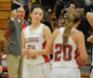Columbiana head coach Ron Moschella calls to his players #24 Emily Whitacre and #20 Brianna Ginger during a time out during the 1st half of Monday nights game.