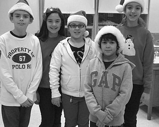 SPECIAL TO THE VINDICATOR: Students at St. Patrick School in Hubbard, a Lumen Christi school, recently had a holiday dress-down to benefit needy families. Students and staff members paid $1 or more to be able to dress casually for the day. The funds raised were donated to families in need this holiday season. Students have the dress-down days once each month to help charities and families in need. Among those participating at this event above were, from left, Cooper Muccio, Daniella Hosack, Katie Cigolle, Jordan Serano and Giavanna Hosack.