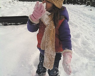 Sophia Testa stops to taste the snow while looking for a Christmas tree!