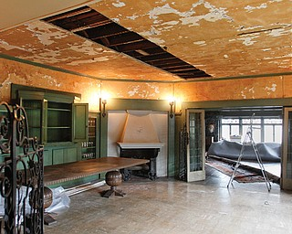 A leaking water pipe in a wall on the second floor of the Arms Family Museum of Local History caused considerable damage to several rooms in the 1905 structure — including the first-floor dining room.