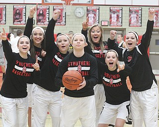 The 2014 Struthers girls basketball team is 9-3 overall and 3-1 in the All-American Conference American Division thanks to the efforts of three sets of sisters, including a pair of twins. They are, from left, McKenna Shives, Torre Smrek, Ashley Kane, Caitlin Kane, Halle Smrek, Karli Shives and Holly Kane.