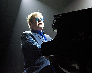 Katie Rickman | The Vindicator.Elton John performs during his intro at the Covelli Center Saturday, February 1, 2014