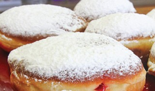 Jelly-filled donuts from the bakery are known as paczki
