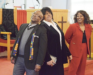 From left to right, Willie Chapman, Dee Hill and Annette Pack act out a skit during the Black History Month talent program on Sunday at Beulah Baptist Church in Youngstown. In addition to skits, the program included singing, miming and black-history readings.