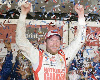 Dale Earnhardt Jr. celebrates in Victory Lane on Sunday after winning the NASCAR Daytona 500 Sprint Cup series race at Daytona International Speedway in Daytona Beach, Fla.