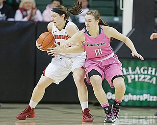 Youngstown State junior Heidi Schlegel keeps the ball away from Green Bay defender Mehryn Kraker during