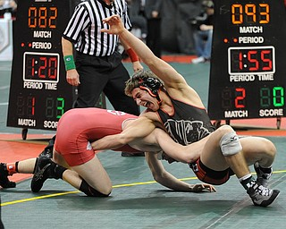 Nick Cardiero of Giard makes a move to take the back of Jared Pack of Centerburg during their 170lb Division 3 championship bracket bout during the State High School Wrestling meet on February 27, 2014 at Jerome Schottenstein Center in Columbus, Ohio.