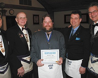 SPECIAL TO THE VINDICATOR Argus Lodge gives award At a recent meeting at Argus Lodge 545 in Canfield, Bradley E. Lange, center, was awarded the Daniel Carter Beard Masonic Scouter Award, a Grand Master Award, for outstanding service to youth and Freemasonry. He is a Scout leader for Greater Western Reserve Council 463, Boy Scouts of America. From left are Russell W. Gillam Jr., Gary L. Wilms, Lange, Corey Richards and Mark Roca.