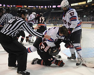YOUNGSTOWN, OHIO - MARCH 21, 2014: Nicholas Boka#45 of Team USA throws a elbow to Kiefer Sherwood #44 of the Phantoms during the 1st period of Friday morning against Team USA at the Covelli Centre. The Phantoms won 7-3.
