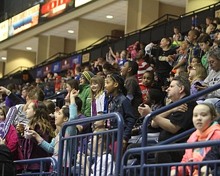 Thousands of grade school students packed into the Covelli Centre for the annual Phantoms School Day Game on Friday morning.  Dustin Livesay  |  The Vindicator  3/21/14  Covelli Centre
