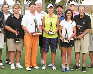 Winners of the 2013 Greatest Golfer of the Valley presented by Farmers National Bank and The Vindicator at The Lake Club. The year concluded with 3,500 golfers affected, 24 champions crowned and more than $20,000 raised for charity. Pictured are, from left, The Vindicator's Todd Franko, the Greatest champs: Joe Castor, John Hazy, Patty Brant, Jonah Karzmer, Bob Leonard, Toni Notaro, Sean Tisone, Christina Cooper, Ken Keller, Domonic Vechiarelli, The Vindicator's Ted Suffolk and The Lake Club's Mike Ferranti.