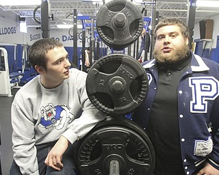 William d Lewizs The Vindicator  Nick Rizzo,RIGHT,  Poland HS senior and football player talks about issues he faces due to being bipolar. At left is freind and team mate Bill Brundage