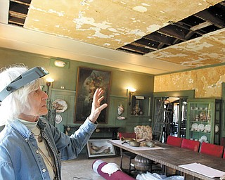 Sara B. Chase, a preservation consultant, surveys the water-damaged period dining room at the Arms Family Museum of Local History. Several rooms in the museum, at 648 Wick Ave. in Youngstown, were damaged after a copper water pipe in a second-floor wall burst Jan. 8 — but none were harmed as severely as the first-floor dining room.