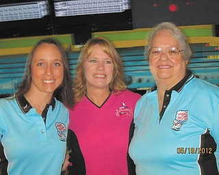 Cindi Pantea of Austintown has been competing in Ohio State Bowling tournaments for 27 years. This photo was taken last year of Cindi, her mother, Edna Plants of Youngstown, and daughter, Tracie Yarrison of Berlin Center, who pack up to make the trip each year.