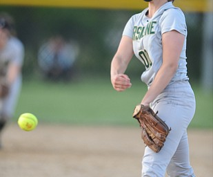 NORTH LIMA, OHIO - MAY 19, 2014: Pitcher Makayla Shore #00 of Ursuline throws a pitch during the top of the 7th inning during a game at South Range High School. (Photo by David Dermer/ Youngstown Vindicator)