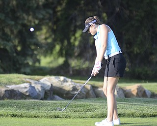 Katie Rickman | The Vindicator.Sarah Brindley, 16, of Howland putts on the green during the Greatest Golfer Junior Qualifier May 24, 2014.