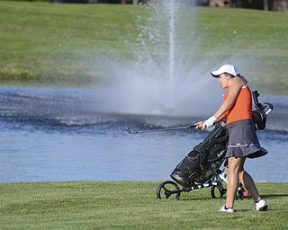 Katie Rickman | The Vindicator.Tori Augustine, 16, of Boardman hits her ball onto the green during the Greatest Golfer Junior Qualifier May 24, 2014.