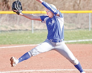 Poland's Taylor Miokovic pitches during a game against Austintown Fitch early this season. The Bulldogs face Tallmadge today in Akron.