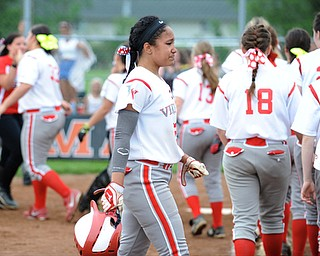 MASSILLON, OHIO - MAY 28, 2014: Base runner Haley Davies #25 of Labrae fights back tears while walking to the dugout after being the final out of the ball game after a OHSAA tournament game at Massillon Washington High School. Manchester won 4-1. (Photo by David Dermer/Youngstown Vindicator)