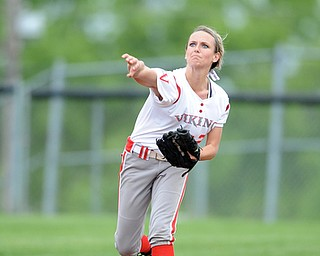 MASSILLON, OHIO - MAY 28, 2014: Infielder Somer McCoy #21 of LaBrae throws the ball to first base for the 1st out in the top of the 4th inning during a OHSAA tournament game at Massillon Washington High School. Manchester won 4-1. (Photo by David Dermer/Youngstown Vindicator)